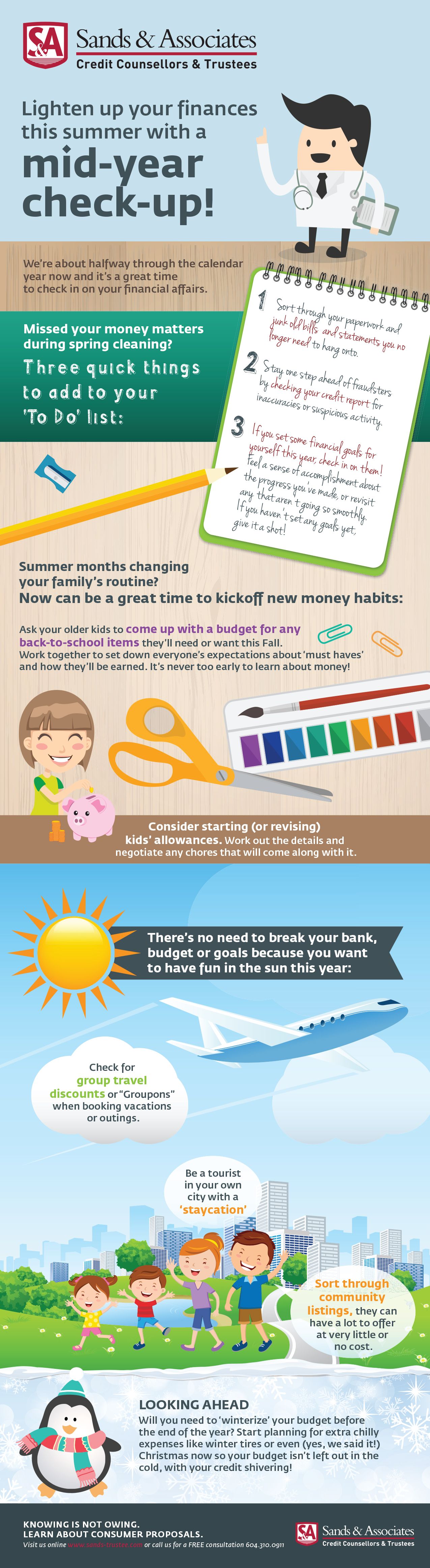 Sands & Associates financial check-up tips infographic